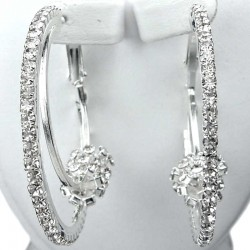 Costume Jewellery, Fashion Chic Clear Diamante Loop & Loop Medium 42mm Leverback Hoop Earrings