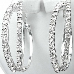 Costume Jewellery, Chic Fashion Clear Diamante Double Loop Interlocking Medium 35mm Leverback Hoop Earrings