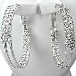 Costume Jewellery, Fashion Chic Double Row Clear Diamante Loop Medium 40mm Leverback Hoop Earrings