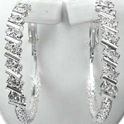 Chic Fashion Costume Jewellery, Clear Diamante Bar Stripe Medium 40mm Leverback Hoop Earrings