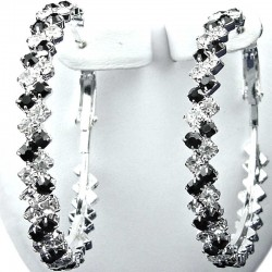 Chic Fashion Costume Jewellery, Black & Clear Diamante Stripe Medium 42mm Leverback Hoop Earrings