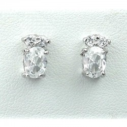 Crystal Costume Jewellery, Clear Oval CZ Fashion Dainty Stud Earrings