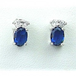 Fashion Costume Jewellery, Royal Blue Oval Crystal CZ Dainty Stud Earrings
