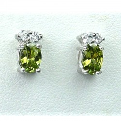 Simple Fashion Jewellery, Olive Green Oval Crystal CZ Costume Dainty Stud Earrings