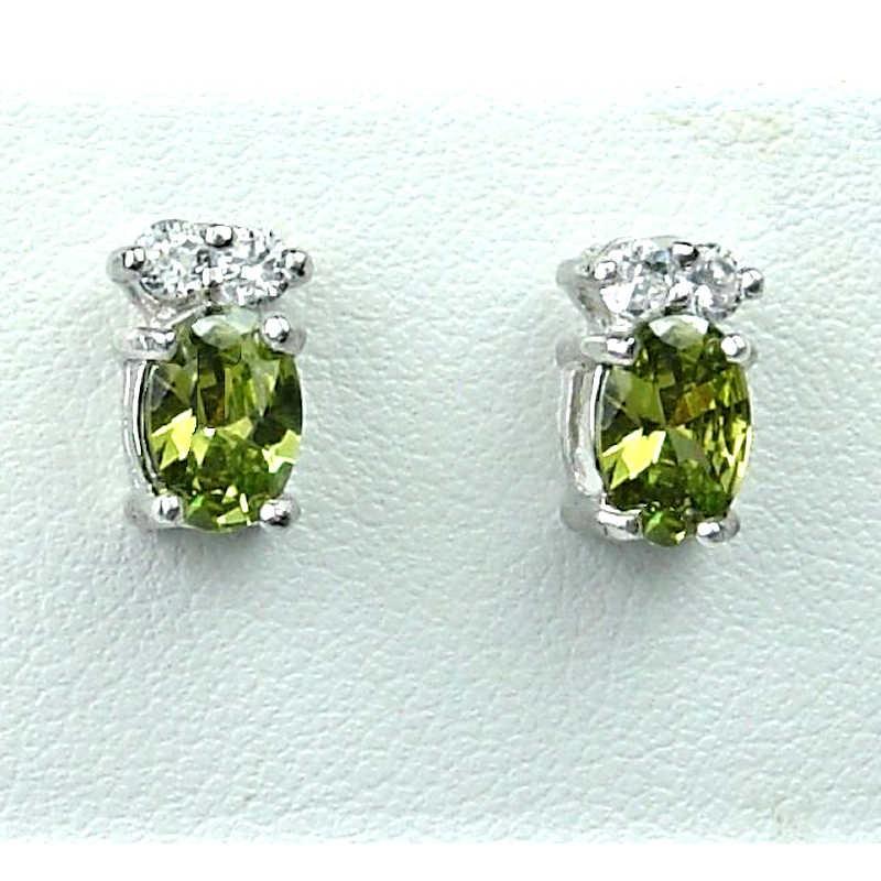 Simple Fashion Jewellery Olive Green Oval Crystal Cz Costume Dainty Stud Earrings Loading Zoom