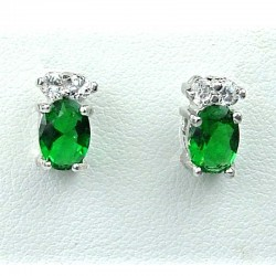 Simple Costume Jewellery, Emerald Green Oval Crystal CZ Fashion Dainty Stud Earrings