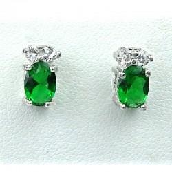 Simple Costume Jewellery, Emerald Green Oval Crystal CZ Fashion Dainty Stud Earrings
