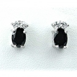 Simple Costume Jewellery, Black Oval Crystal CZ Fashion Dainty Stud Earrings