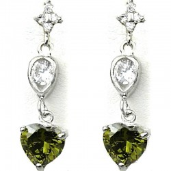 Fashion Jewellery Olive Green Crystal Heart CZ Drop Earrings
