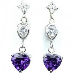 Dressy Fashion Jewellery Purple Crystal Heart CZ Drop Costume Earrings