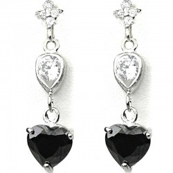 Dressy Costume Jewellery, Black Crystal Heart CZ Fashion Drop Earrings