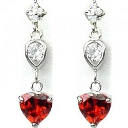 Dressy Fashion Jewellery Red Crystal Heart CZ Drop Costume Earrings