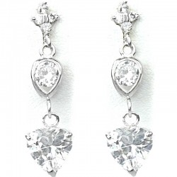 Dressy Fashion Jewellery ,Clear Crystal Heart CZ Drop Costume Earrings