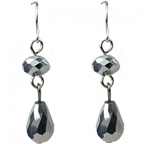 Silver Teardrop Glass Bead Drop Earrings