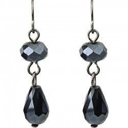 Charcoal Black Teardrop Glass Bead Drop Earrings