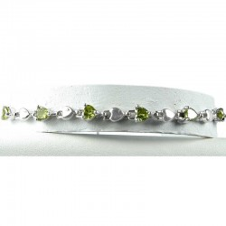 Simple Costume Jewellery, Olive Green Crystal Heart CZ Dressy Fashion Tennis Bracelet