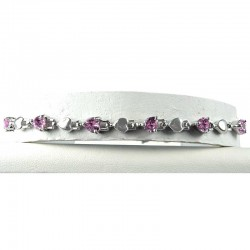 Simple Costume Jewellery, Pink Crystal Heart CZ Dressy Fashion Tennis Bracelet