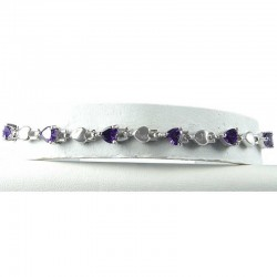 Simple Fashion Jewellery, Purple Crystal Heart CZ Dressy Costume Tennis Bracelet