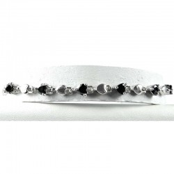Simple Costume Jewellery, Black Crystal Heart CZ Dressy Fashion Tennis Bracelet
