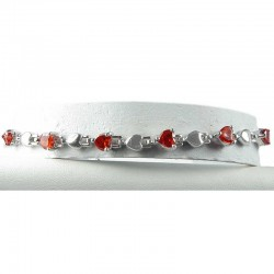 Simple Costlume Jewellery, Red Crystal Heart CZ Dressy Fashion Tennis Bracelet