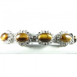 Semi Precious Gemstone Fashion Jewellery, Clear Diamante Tigers Eye Oval Natural Stone Costume Bracelet
