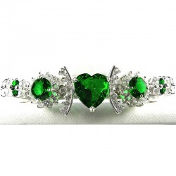Emerald Green Heart Rhinestone Clear Diamante Dressy Bracelet