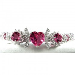 Fashion Pink Heart Rhinestone Clear Diamante Dressy Costume Jewellery Bracelet