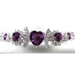 Purple Heart Rhinestone Clear Diamante Dressy Bracelet
