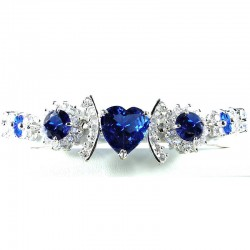 Royal Blue Heart Rhinestone Clear Diamante Dressy Bracelet