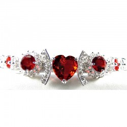 Fashion Red Heart Rhinestone Clear Diamante Dressy Costume Jewellery Bracelet