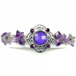 Statment Costume Jewellery, Purple Round Rhinestone Natural Stone Wave Fashion Bracelet