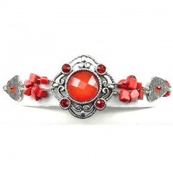 Statement Costume Jewellery, Red Round Rhinestone Natural Stone Wave Fashion Bracelet