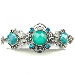 Dressy Statement Jewellery, Aqua Blue Three Round Rhinestone Wave Fashion Bracelet