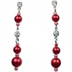Classic Costume Jewellery, Red Pearl Clear Diamante Linear Fashion Drop Earrings