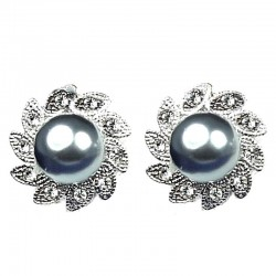 Fashion Wedding, Bridal Costume Jewellery, Grey Pearl Clear Diamante Large Stud Earrings