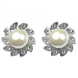 Bridal Costume Jewellery, Fashion Ivory Pearl Clear Diamante Floral Large Stud Earrings