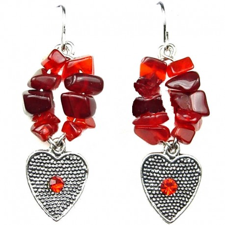 Cheap Costume Jewellery, Red Natural Stone Fashion Heart Drop Earrings