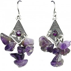 Purple Kite Rhombus Natural Stone Chandelier Drop Earrings