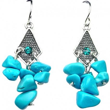 Cheap Costume Jewellery, Blue Kite Rhombus Natural Stone Fashion Chandelier Drop Earrings