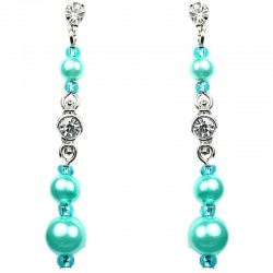 Dressy Costume Jewellery, Blue Fashion Pearl Clear Diamante Linear Drop Earrings