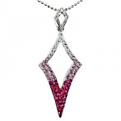 Costume Jewellery Pink Diamante Open Kite Lozenge Pendant & Fashion Chain Necklace