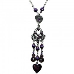 Costume Jewellery Fashion Purple Heart Glass Bead Tassel Drop Long Necklace