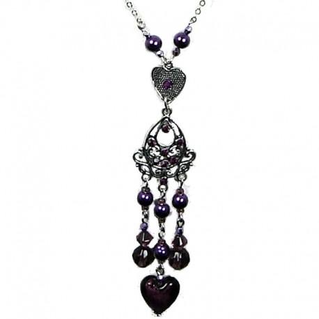 Costume Jewellery Fashion Purple Heart Glass Bead Tassel Drop Long Necklace