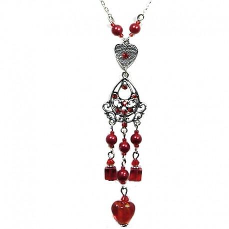 Costume Jewellery, Fashion Red Heart Glass Bead Tassel Drop Long Necklace