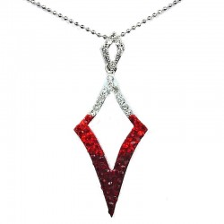 Red Diamante Open Kite Lozenge Pendant