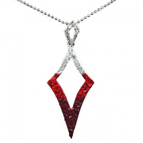 Costume Jewellery Fashion Red Diamante Open Kite Lozenge Pendant & Chain