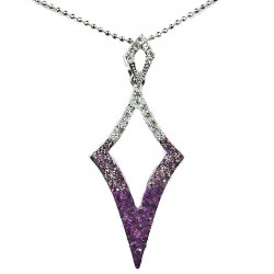 Costume Jewellery Fashion Purple Diamante Open Kite Lozenge Pendant & Chain Necklace