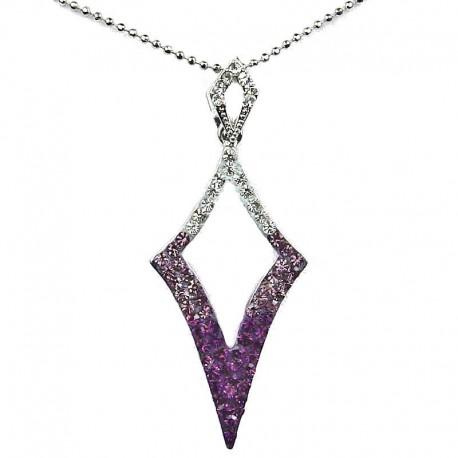 Costume Jewellery Fashion Purple Diamante Open Kite Lozenge Pendant & Chain Necklace