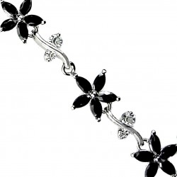 Bridal Costume Jewellery Black Cubic Zirconia CZ Crystal Flower Fashion Dressy Tennis Bracelet