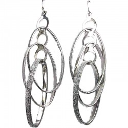 Costume Jewellery, Fashion Loop & Loop Interlocking Dangle Oval Long Drop Earrings